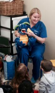 Here is Bronwyn with her helper Norbit giving a dental talk - childrens dentist brisbane
